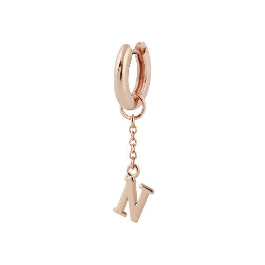 N Alphabet Huggie Charm Rose Gold