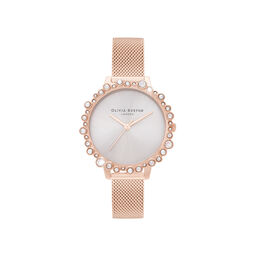 Bubble Case Midi Dial Pale Rose Gold Mesh Watch