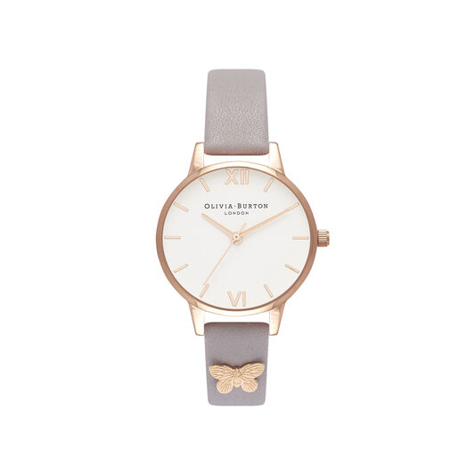 Olivia Burton Embellished Strap, Lilac & Rose Gold Butterfly Watch