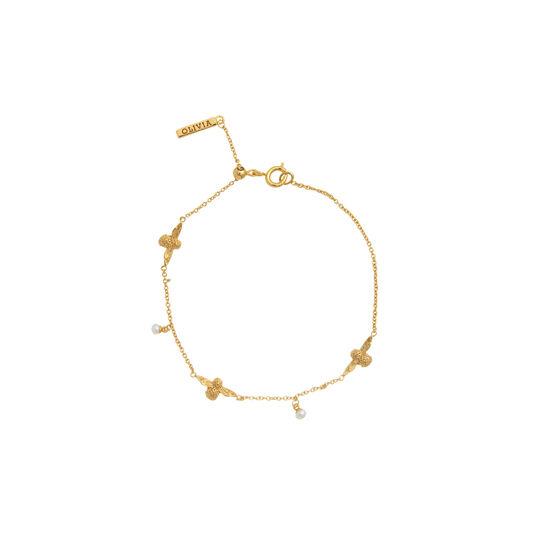 Pearl Bee Chain Bracelet Gold
