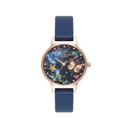 Midi Night Garden Butterflies Navy & Rose Gold Watch