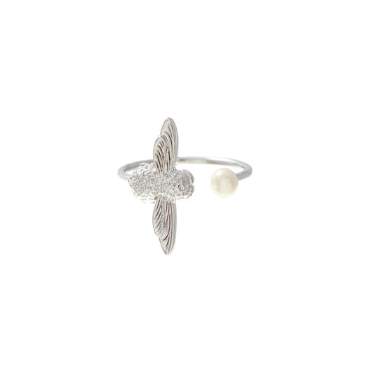 Pearl Bee Ring Silver