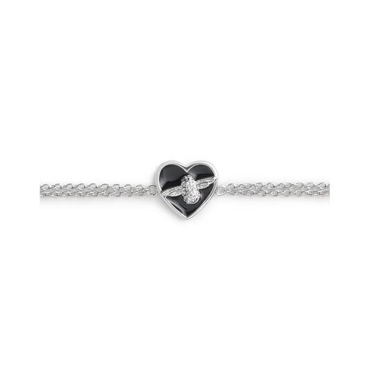 Love Bug Chain Bracelet Black & Silver
