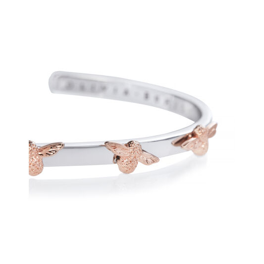 3D Bee Bangle Silver & Rose Gold