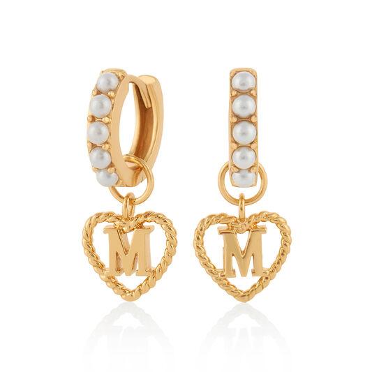 'M' Faux Pearl Heart Initial Huggie Hoop Gold