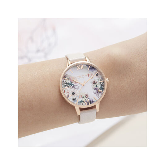 Watercolor Florals Demi Dial Watch with Nude Mother-Of-Pearl