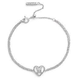 Heart Initial Chain Bracelet Silver