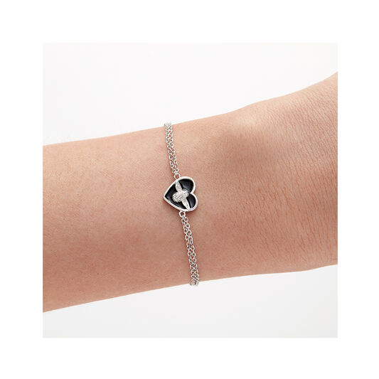 Love Bug Chain Bracelet Black & Silver