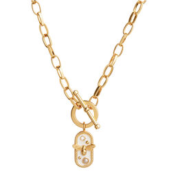 Lucky Bee White Enamel Bee Chain Necklace Gold