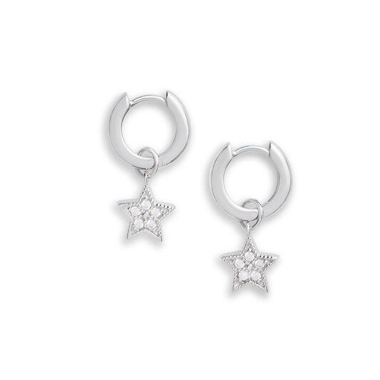 Celestial Star Charm Huggies Silver