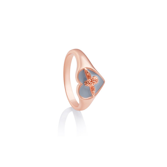 Love Bug Signet Ring Gray & Rose Gold M