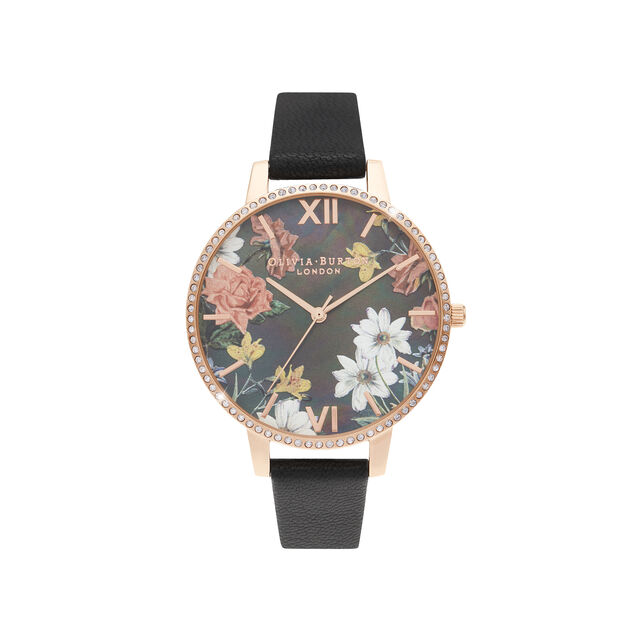 Big Mother Of Pearl Dial Black & Rose Gold Watch
