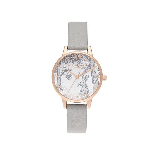 Olivia Burton Snow Globe Winter Bunny Grey & Rose Gold Watch