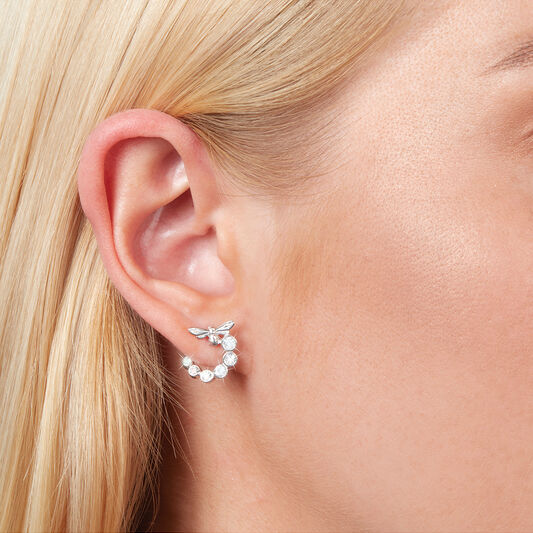 Bejewelled Lucky Bee Swirl Hoop Earrings Silver
