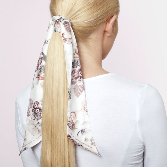 Marble Floral Skinny Silk Scarf White