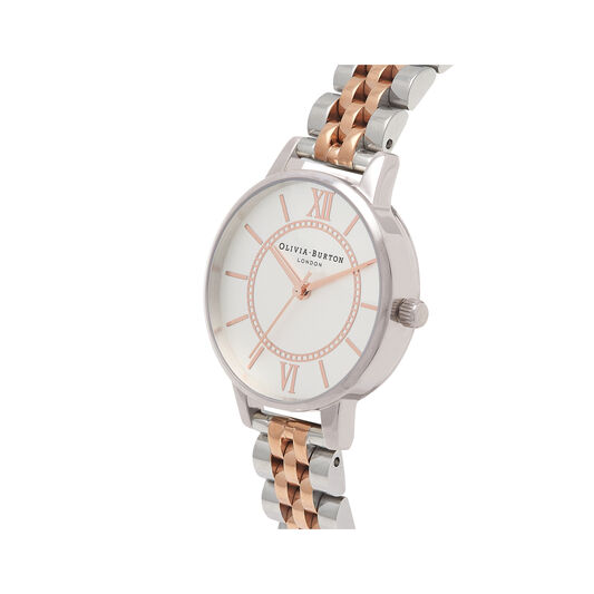 Wonderland Bracelet Silver And Rose Gold Mix Watch