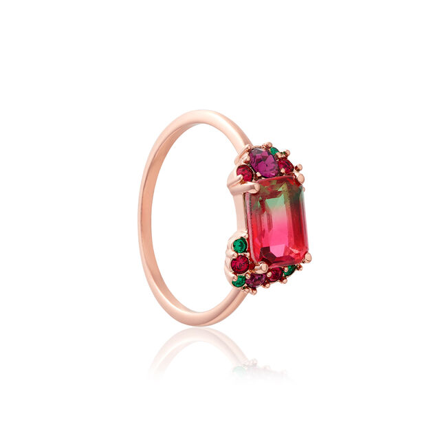 Jewel Rainbow Tourmaline Rose Gold Ring (M)