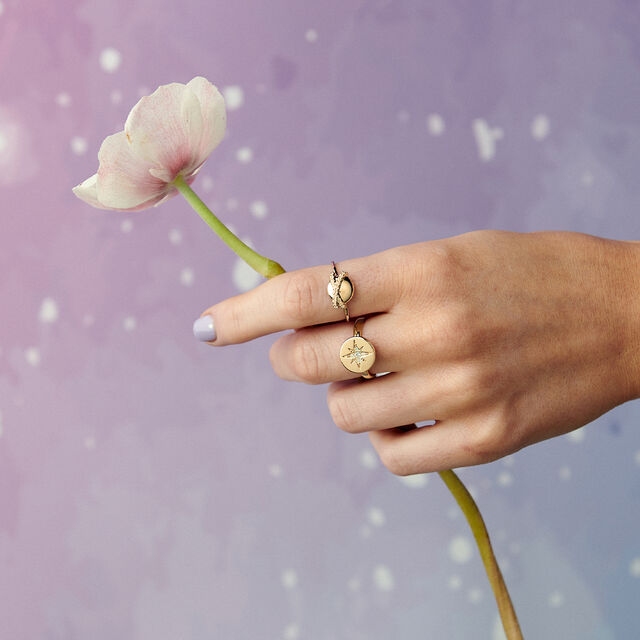 North Star Disc Gold Ring