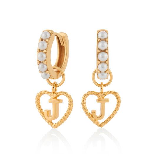 'J' Faux Pearl Heart Initial Huggie Hoop Gold