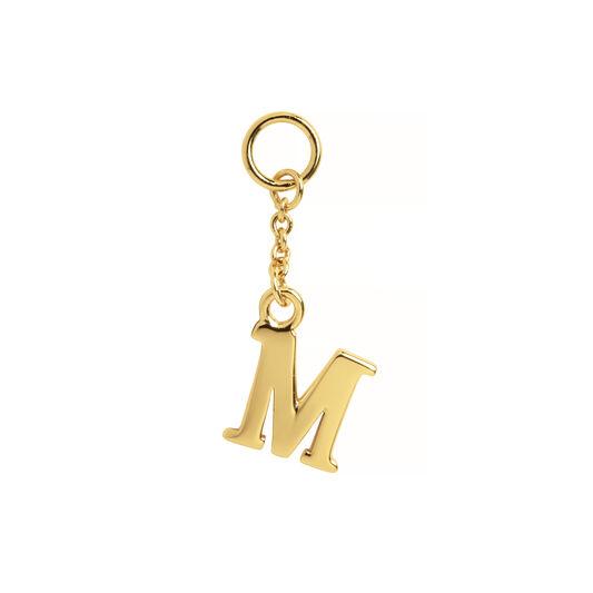 M Alphabet Huggie Charm Gold