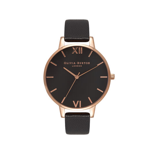 Big Dial Black And Rose Gold Watch