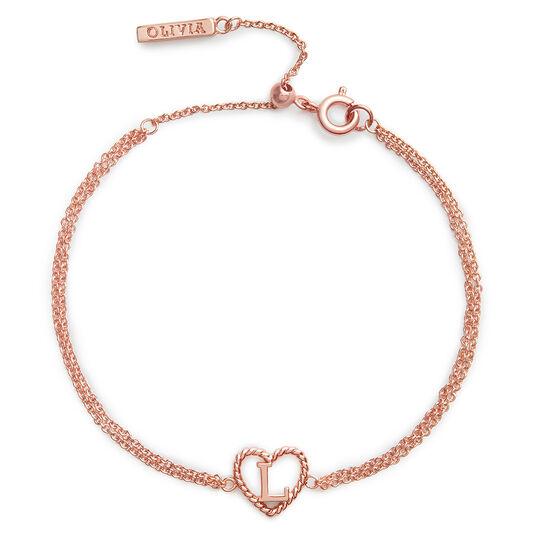 'L' Heart Initial Chain Bracelet Rose Gold