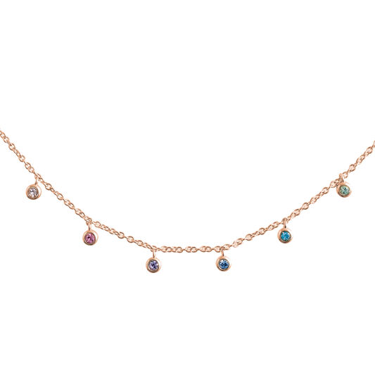 Rainbow Crystal Rose Gold Choker Necklace