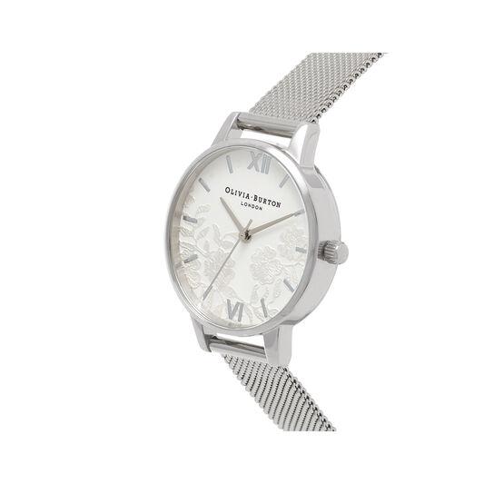 Lace Detail Silver Mesh Watch