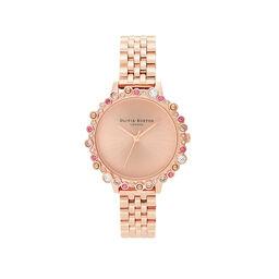 Olivia Burton Limited Edition Bejewelled Case Watch, Rose Gold Bracelet
