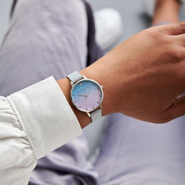 Glitter Ombre Demi Dial, Sparkle Markers Glitter Strap & Silver Watch