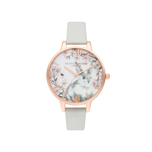 Olivia Burton Bunny Demi Vegan Grey & Rose Gold Watch