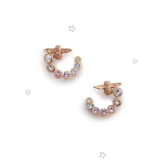 Rainbow Bee Swirl Hoop Earrings Rose Gold