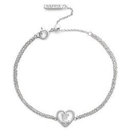 'E' Heart Initial Chain Bracelet Silver
