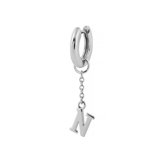 N Alphabet Huggie Charm Silver