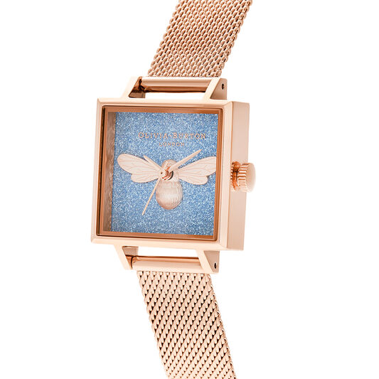 Midi Square Dial Lucky Bee Aqua Glitter & Rose Gold Mesh Watch