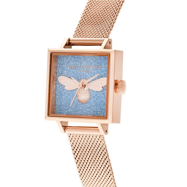 Midi Square Dial Lucky Bee Aqua Glitter & Rose Gold Mesh Watch