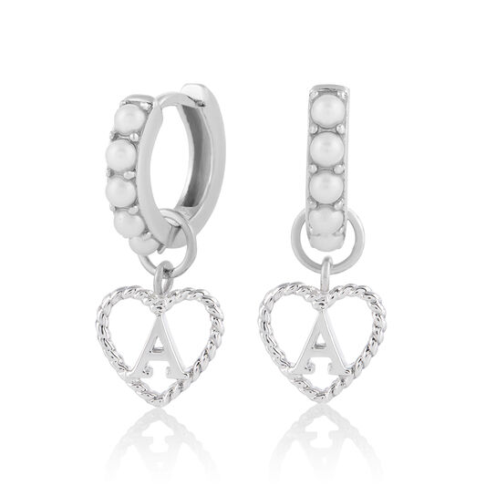 'A' Faux Pearl Heart Initial Huggie Hoop Silver