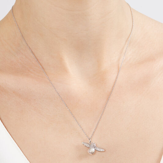 Pearl Bee Pendant Necklace Silver