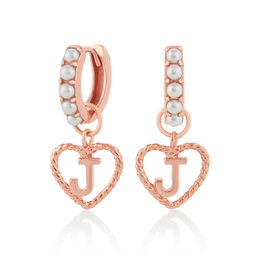 'J' Faux Pearl Heart Initial Huggie Hoop Rose Gold