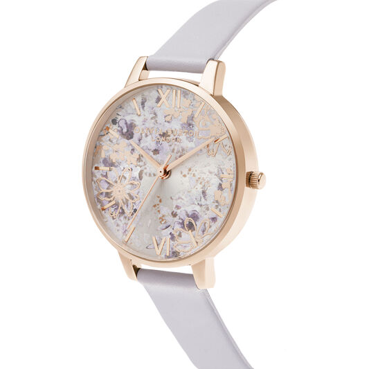 Abstract Floral Big Dial Parma Violet & Pale Rose Gold Watch