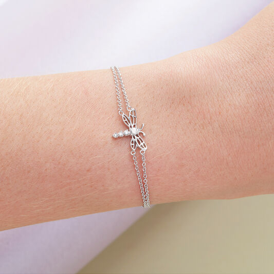 Dancing Dragonfly Chain Bracelet Silver