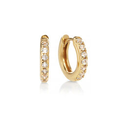 Huggie Hoop Earrings with White Topaz