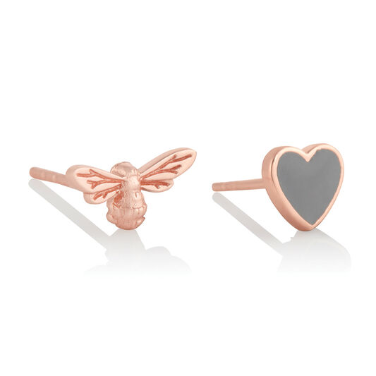 You Have My Heart Studs Grey & Rose Gold