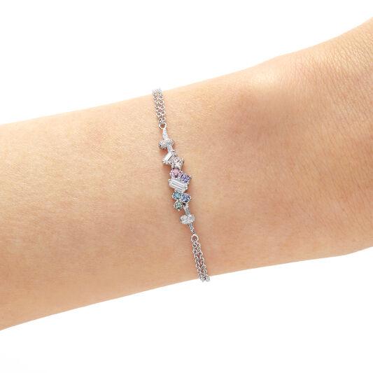 Rainbow Bee Chain Bracelet Silver