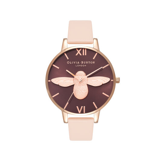 Olivia Burton 3D Bee Nude Peach & Rose Gold Watch