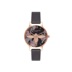 Botanical 3D Bee Black & Rose Gold Watch