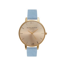 Olivia Burton Sunray Dial Chalk Blue Suede & Gold