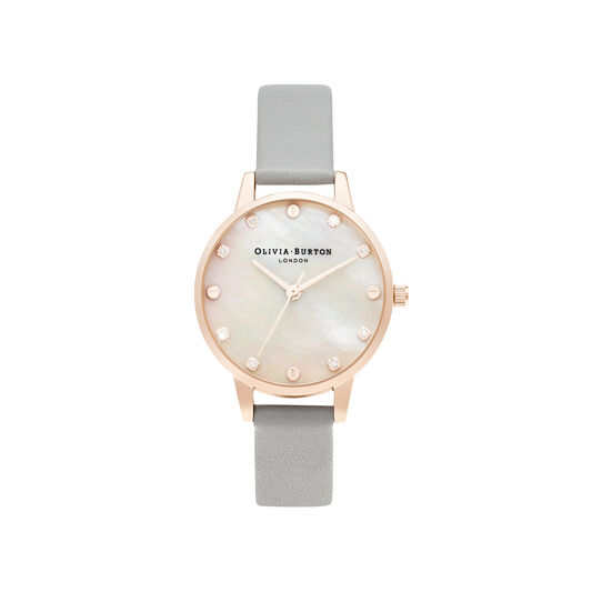 Midi Mother Of Pearl Dial Grey & Rose Gold Watch