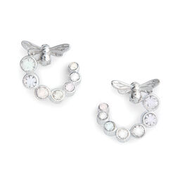 Bejewelled Lucky Bee Swirl Hoop Earrings Silver