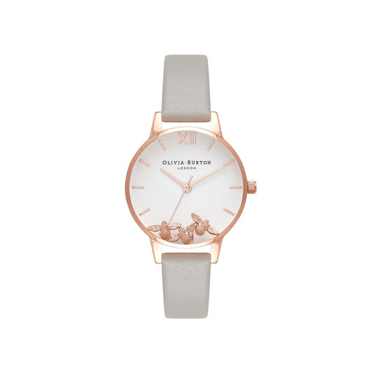 Olivia Burton Busy Bees Grey & Rose Gold Watch